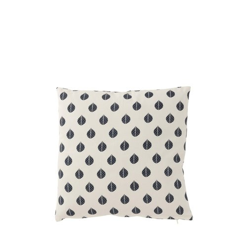J -Line Cushion Square Cotton Leaves White - Blue