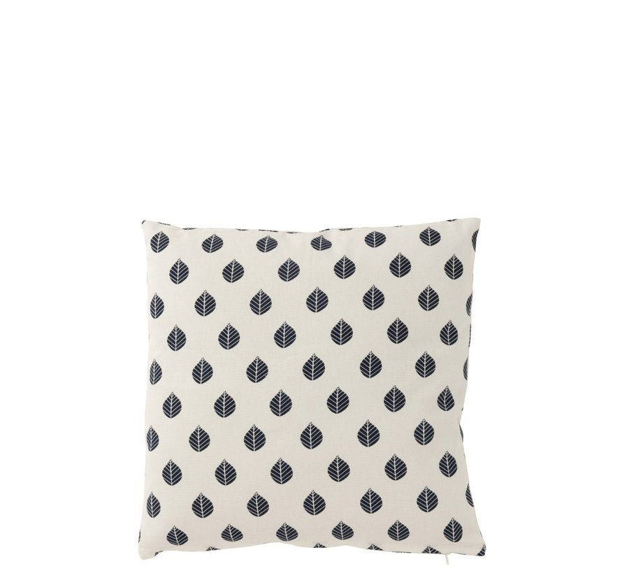 Cushion Square Cotton Leaves White - Blue