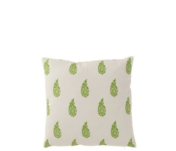 J-Line Pillow Square Cotton Long Leaves White - Green