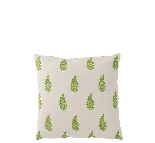 J -Line Pillow Square Cotton Long Leaves White - Green
