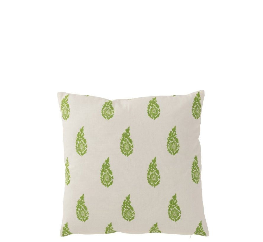 Pillow Square Cotton Long Leaves White - Green