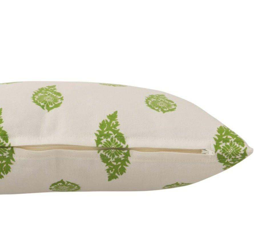 Kussen Vierkant Katoen Lange Bladeren Wit - Groen