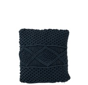 J -Line Cushions Square Cotton Handicraft - Dark Blue