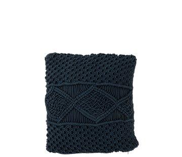 J -Line Cushions Square Cotton Handicraft - Dark Blue