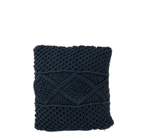 J -Line Kussens Vierkant Katoen Handwerk - Donkerblauw