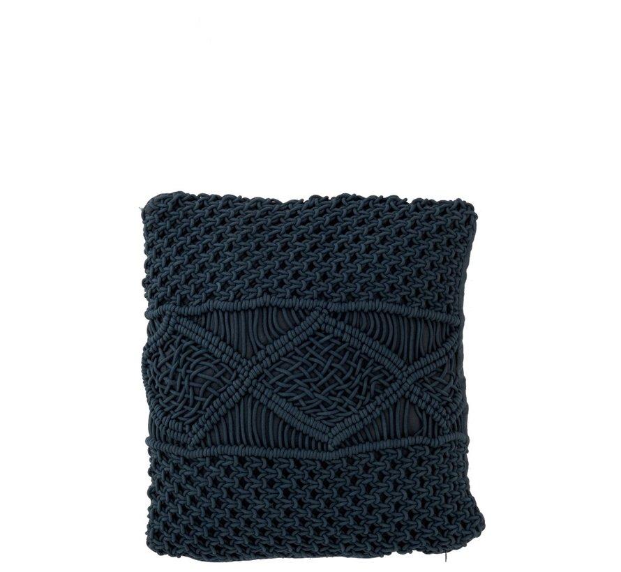 Kussens Vierkant Katoen Handwerk - Donkerblauw