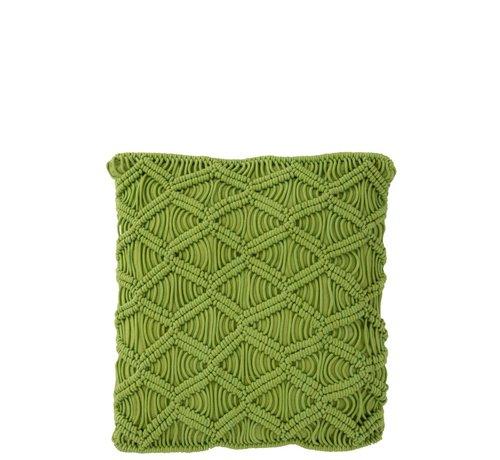 J -Line Cushions Square Cotton Handicraft - Green
