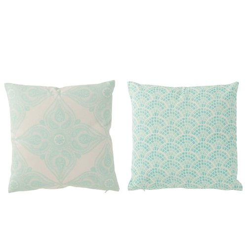 J -Line Cushions Square Cotton Oriental White - Light Blue