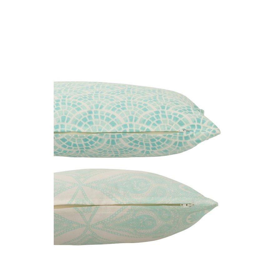Kussens Vierkant Katoen Oosters Wit - Lichtblauw