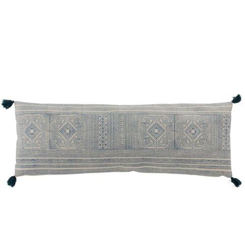 J -Line Cushion Rectangle Cotton Aztec Patterns Light Blue - White