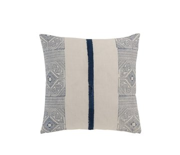 J -Line Pillow Square Cotton Aztec Patterns Stripe Blue - White