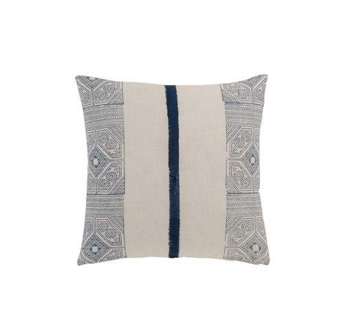 J -Line Pillow Square Cotton Aztec Patterns Stripe Blue - White