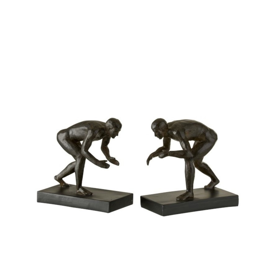 Decorative Bookends Wrestlers Poly - Dark brown