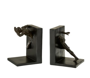 J -Line Decorative Bookends Running Athlete Poly - Black