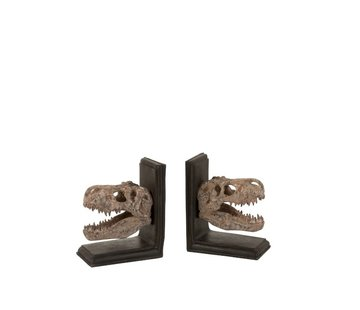 J -Line Decorative Bookends Dinosaur Poly Brown - Beige