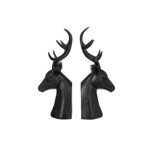 J -Line Decorative Bookends Red Deer Poly - Dark Brown