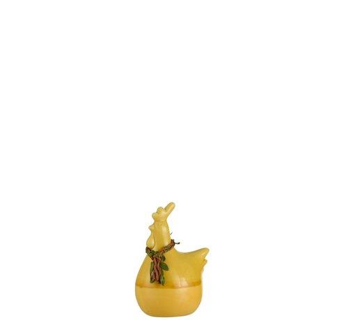 J -Line Decoratie Kip Krans Porselein Geel Groen Bruin - Small