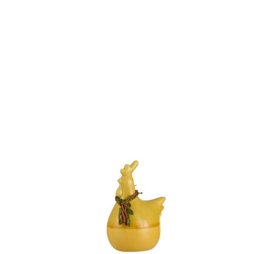 Decoratie Kip Krans Porselein Geel Groen Bruin - Small