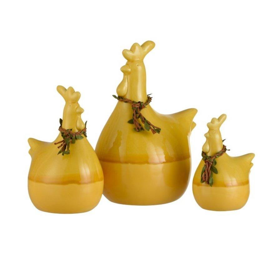 Decoratie Kip Krans Porselein Geel Groen Bruin - Large