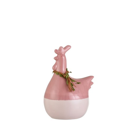 J -Line Decoration Chicken Wreath Porcelain Pink Green Brown - Large