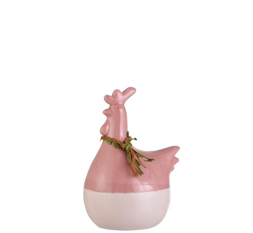 Decoration Chicken Wreath Porcelain Pink Green Brown - Large