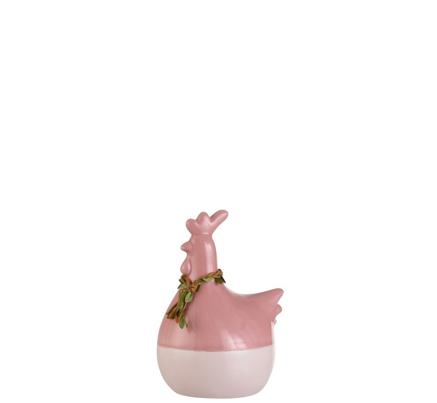 Decoratie Kip Krans Porselein Roze Groen Bruin - Medium