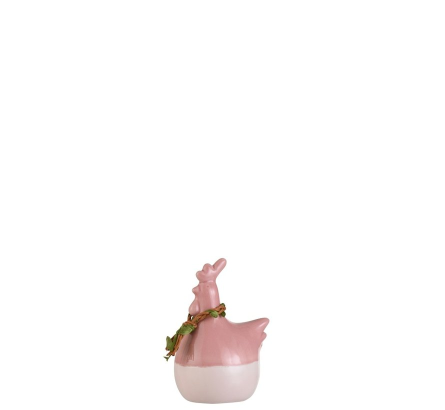 Decoratie Kip Krans Porselein Roze Groen Bruin - Small