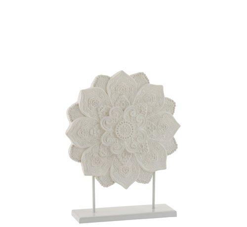 J -Line Decoratie Mandala Op Voet Polyester - Wit