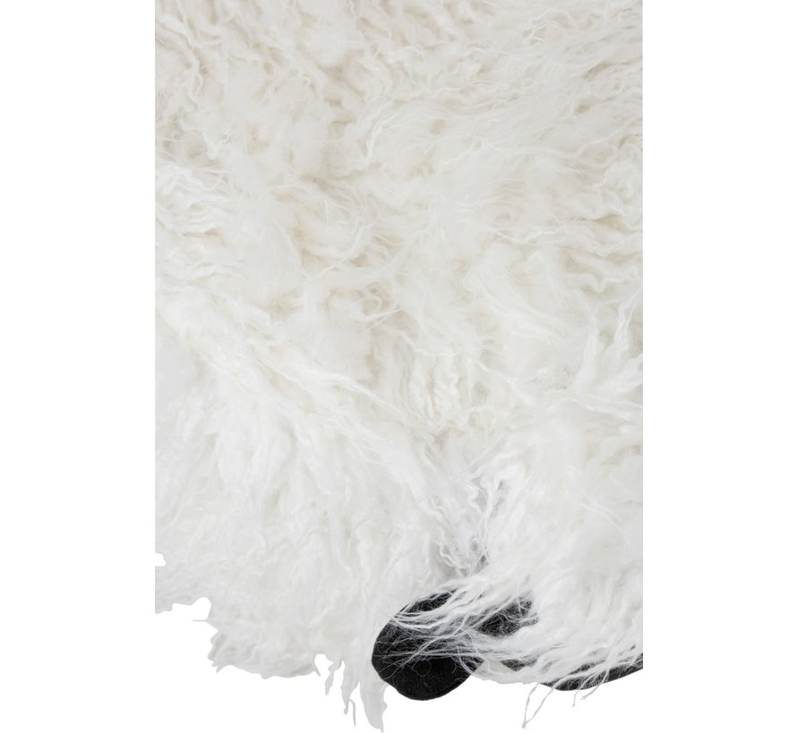 Poef Schaap Rechthoek Textiel Ecru - Zwart