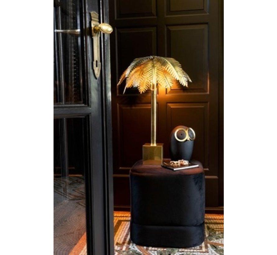 Poef Vierkant Hoog Luxueus Velvet - Zwart