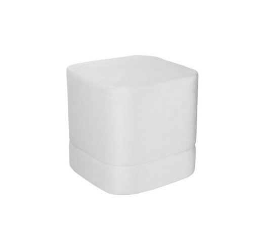 J-Line  Pouf Square High Luxurious Velvet - White