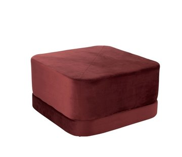 J -Line Pouf Square Low Luxurious Velvet - Red