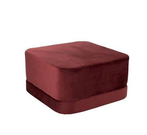 J-Line Pouf Square Low Luxurious Velvet - Red