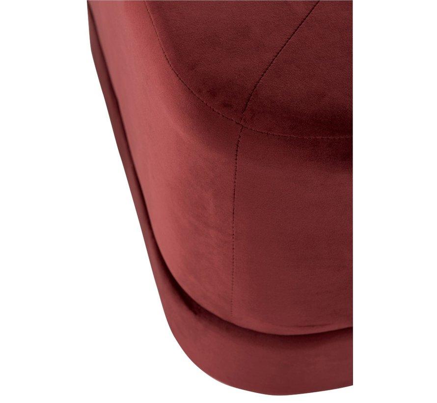 Poef Vierkant Laag Luxueus Velvet - Rood