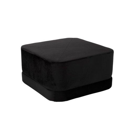 J -Line Pouf Square Low Luxurious Velvet - Black