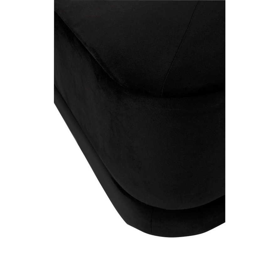 Pouf Square Low Luxurious Velvet - Black
