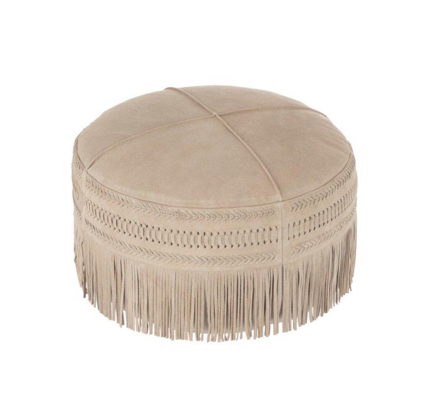 Pouf Round Simili Leather fringes - Light gray