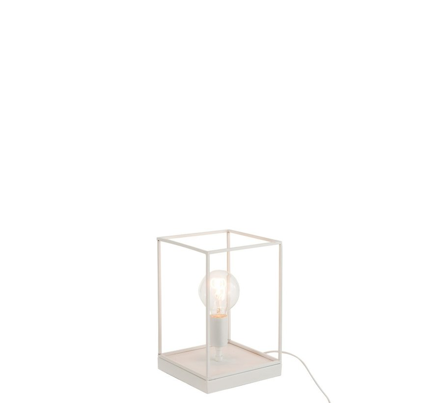 Table Lamp Rectangle Tight Metal Frame White - Small