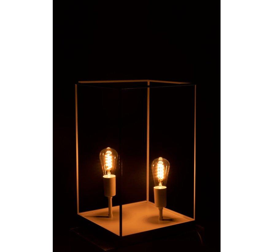 Tafellamp Rechthoek Strak Metalen Frame Wit - Large
