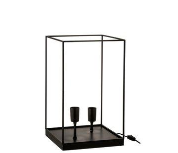 J-Line Tafellamp Rechthoek Strak Metalen Frame Zwart - Large