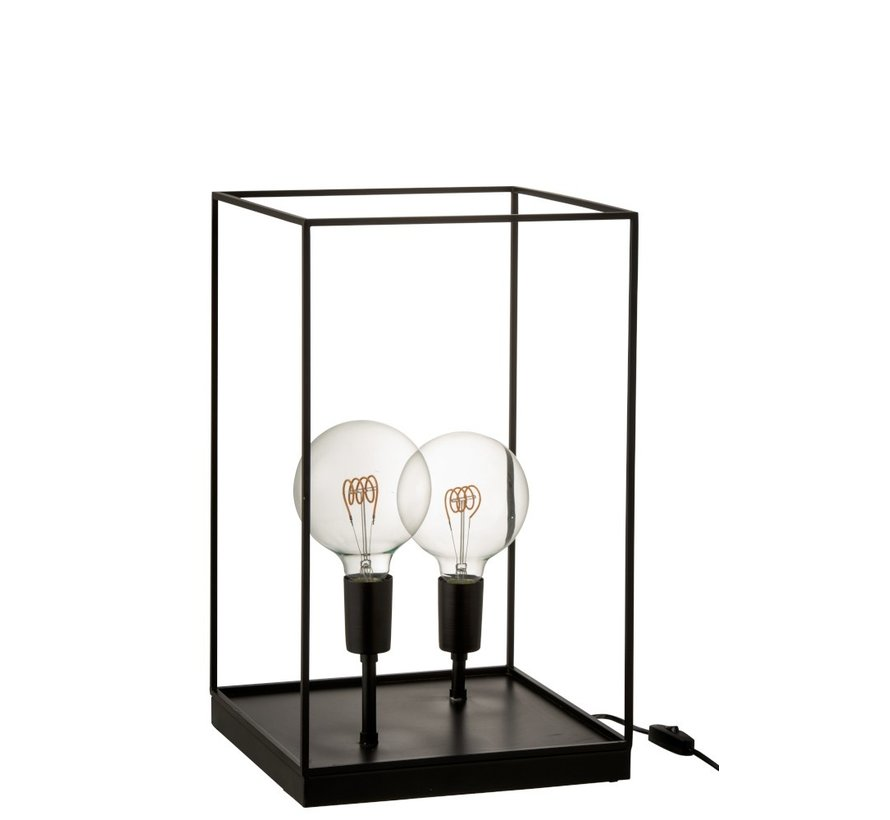 Tafellamp Rechthoek Strak Metalen Frame Zwart - Large
