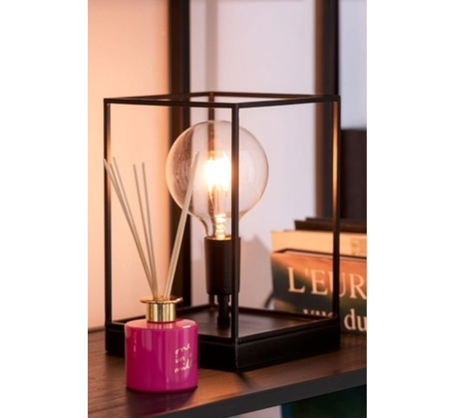 Table Lamp Rectangle Tight Metal Frame Black - Small
