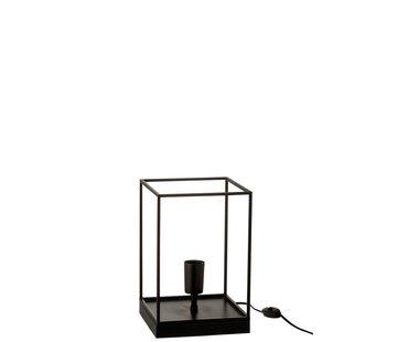 J-Line Tafellamp Rechthoek Strak Metalen Frame Zwart - Small
