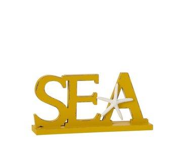 J -Line Decoratie Letters Sea Op Voet Hout - Geel
