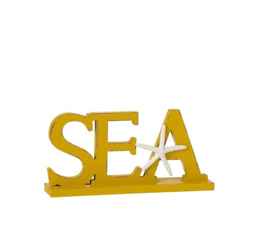 J -Line Decoration Letters Sea On Foot Wood - Yellow