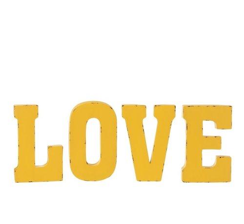 J -Line Wanddecoratie Letters Love Metaal - Geel