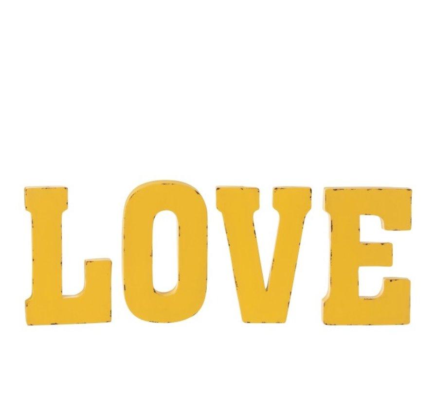 Wanddecoratie Letters Love Metaal - Geel