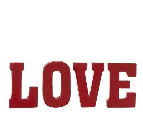 J -Line Wanddecoratie Letters Love Metaal - Rood