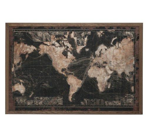 J -Line Wanddecoratie Wereldkaart Led-Verlichting Zwart - Bruin