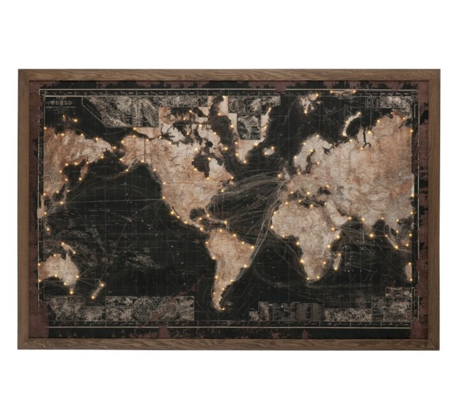 Wanddecoratie Wereldkaart Led-Verlichting Zwart - Bruin